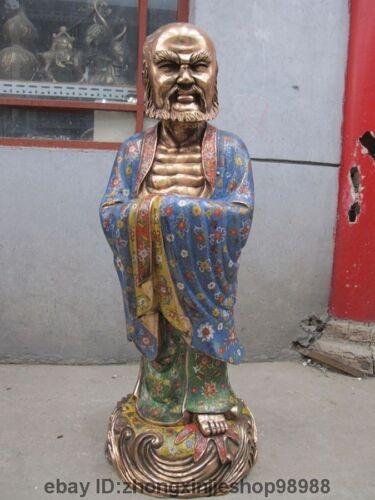Chinese temple Pure Bronze cloisonne bodhidharma Dharma ancestor Buddha statue
