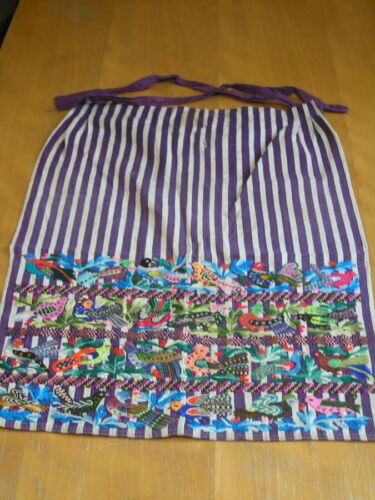 """Vintage Hand Embroidered FAIRISTYTCH Guatemalan Apron 19x24"""" Birds and Flowers"""