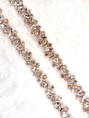 Rose Gold Trim - Crystal Rhinestones in Rose Gold Settings Elegant Sewing Bridal Trim (GB615)