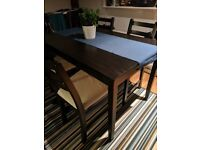 Ikea Lernham Table and Four Chairs (Black-Brown)