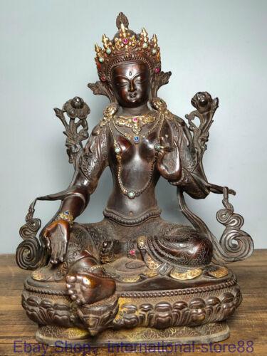 "12.4"" Rare Old Chinese Copper Gilt Gems Buddhism Seat Green Tara Goddess Statue"