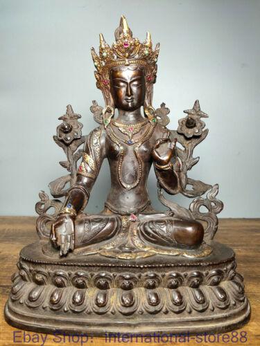 "11.4"" Old Chinese Copper Gilt Gems Buddhism Seat White Tara Goddess Sculpture"