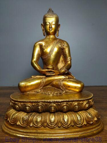 "11.2"" Old Chinese Copper Gilt Buddhism Shakyamuni Amitabha Buddha Jar Statue"