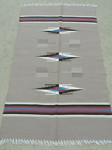 Excellent Vintage Khaki  Chimayo Weaving Rug Blanket 30x61 inches 3 Medallions