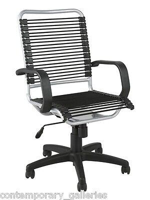High Back Height Adjustable Tilt Black Silver Bungie Bungee Desk Arm Chair