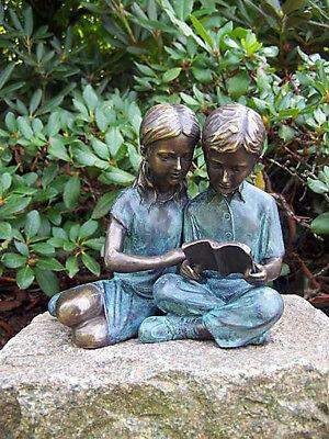 Reading Children, Bronze Figure