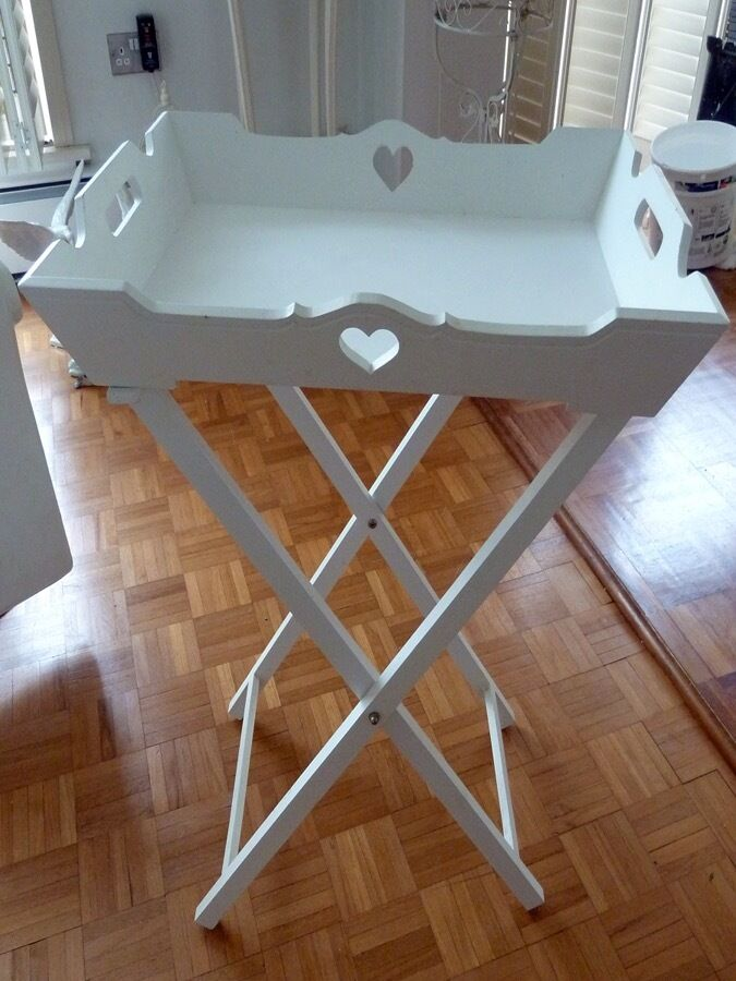 Butlers Tray Table White Shabby Chic