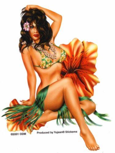 Hot ISLAND Hula PINUP Girl HAWAIIAN MANCAVE ART Sticker WATERPROOF Decals