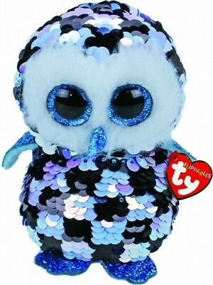 Topper Owl Sequin Flippables Ty Beanie Boos Stuffed Animal Plush Small 6