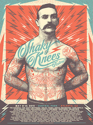 Shaky Knees Fest Poster 5/8-10/2015 Central Park Atlanta GA Signed Artist Ed.