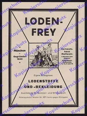 orig. Reklame Loden-Frey Bekleidung Textil Wintersport Alpinismus München 1925