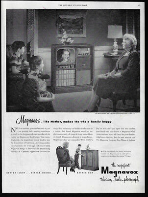 1951 Vintage Print Ad 50S Magnavox Tv Television Family Home Electronics Image
