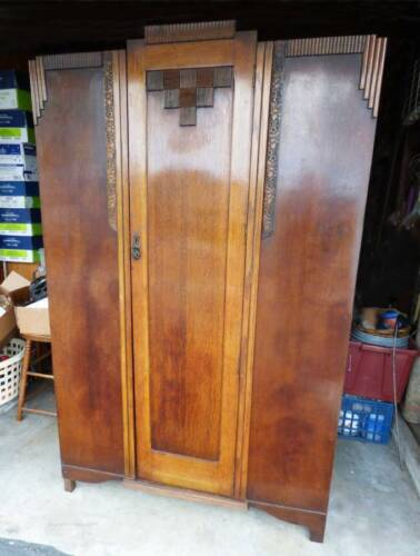 Antique Vintage Art Deco Armoire Wardrobe
