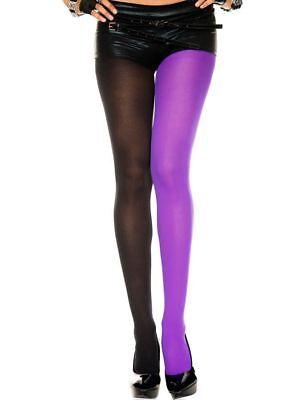 Court Jester Tights Black Purple Two Tone Mardi Gras Costume Pantyhose Hosiery ()
