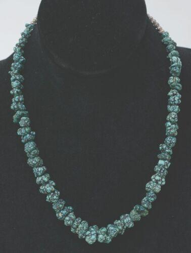 "Navajo Nugget Necklaces, Rare High-Grade Seafoam Turquoise Nuggets, 18.5""  1970s"
