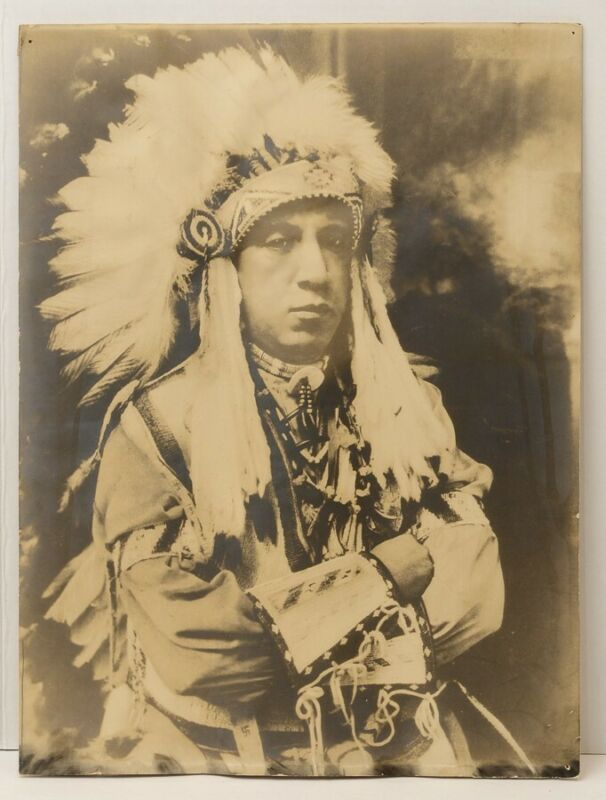 """AS-IS Large 14.75"""" x 19.75"""" Native American Indian Chief Photograph Vtg"""