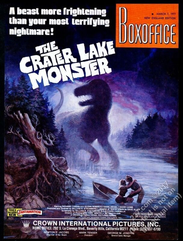 1977 The Crater Lake Monster movie release vintage trade print ad
