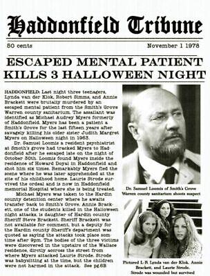 1978 Halloween Haddonfield Tribune Escaped Mental Patient > Michael Myers >Print