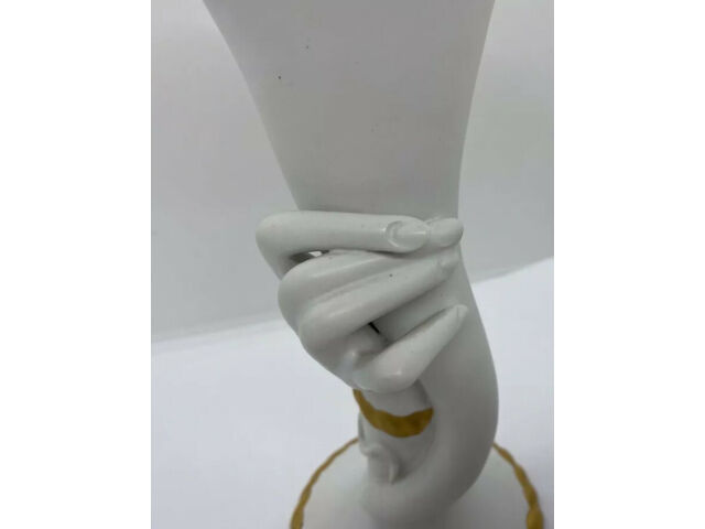 Antique Porcelain Figural Vase By Coronetti Cunardo Italy hand holding lilly
