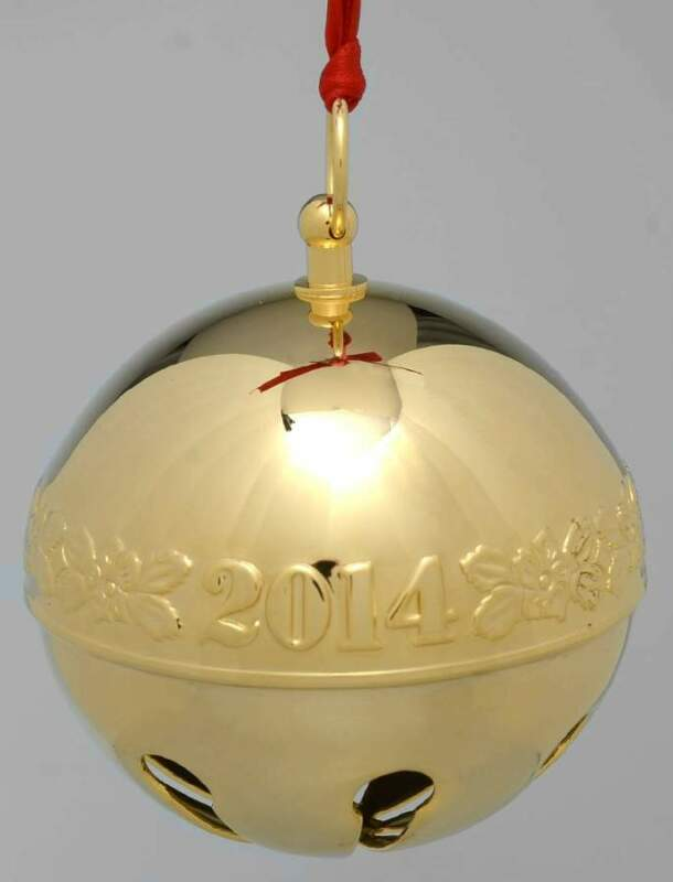 Wallace SLEIGH BELL GOLDPLATED ORNAMENT 2014 Christmas Rose 10293208