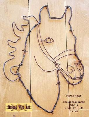 (Horse Head - handmade metal decor barbed wire art farm rodeo country ranch)