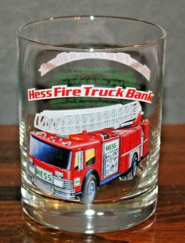 Hess Fire Truck Bank 1996 Glass Cup Classic Truck Series