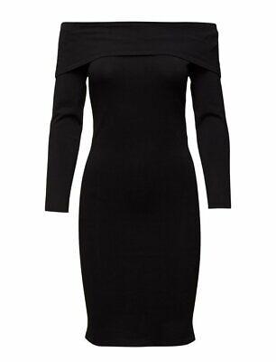 Selected Femme Mathilde Off Shoulder Knit Bodycon Stretch Dress Black S £75...