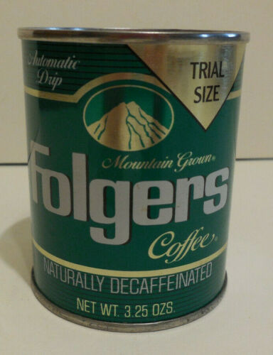 Unopened Folgers 3.25oz Decaffeinated Coffee Tin Can Trial Size!!!!