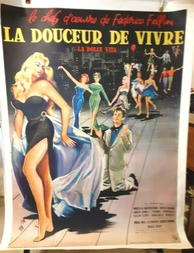 """poster on linen LA DOLCE VITA 1960 French 1Panel 47x63 LINENBACKED """"Sweet Life"""""""