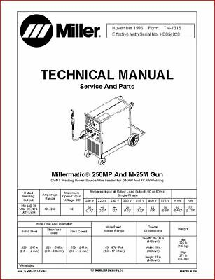 Millermatic 250mp Technical Manual Eff With Kb054828