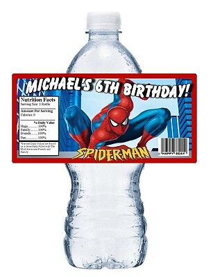20 SPIDER-MAN SPIDERMAN BIRTHDAY PARTY FAVORS WATER BOTTLE LABELS WRAPPERS