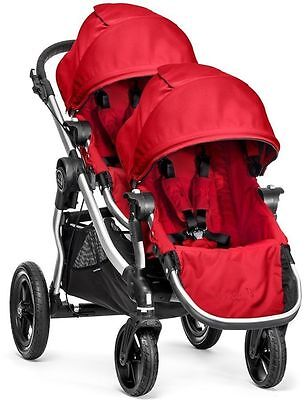 Baby Jogger City Select Twin Tandem Double Stroller Ruby w Second Seat NEW 2017