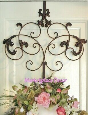 Wreath Hangers (Scroll Decorative Wreath Metal Hanger Hook Over Door Welcome Spring Summer)