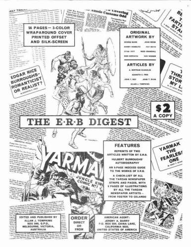 Vintage 1960s advertisement for THE E.R.B. DIGEST fanzine - Reed Crandall