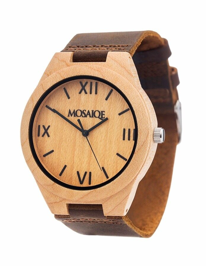 Weekend Bargain!!! Mosaique Mapple Wood Watch with Leatcher Strap RRP £94.95