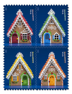USPS-New-Gingerbread-Houses-Stamp-Booklet-of-20