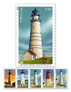 USPS-New-New-England-Coastal-Lighthouses-Forever-Self-Adhesive-Stamp-Sheet-of-20