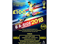 6 Aside football tournament. WIN £100 FOR THE TEAM. 4 spaces left
