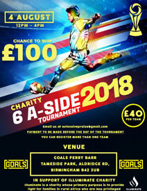 6 Aside football tournament. WIN £100 FOR THE TEAM. 1 space left