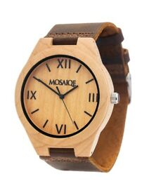Mosaique Mapple Wood Watch with Leatcher Strap RRP £94.95