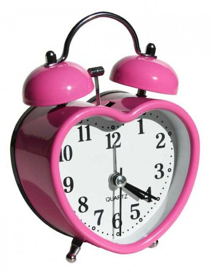 Pink Heart Shaped Retro Alarm Clock Home Decor Bedroom Kids Gift