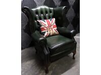 Stunning Chesterfield Queen Anne Wing Back Arm Chair in Green Leather - Delivery