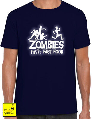 Zombies Hate Fast Food Halloween Glow T-Shirt Spooky Scary Fancy Dress - Halloween Scary Foods