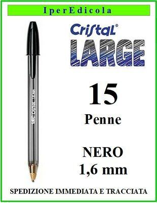 15 penne penna bic nere nera cristal large a sfera biro per...