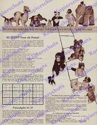 orig Reklame Steiff Plüschtiere Spielzeug Giengen a.d. Brenz Rätsel-Turnier 1960