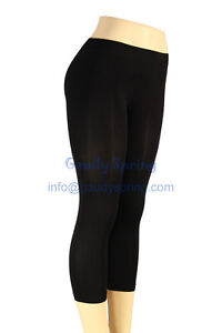NEW-Ultra-Stretch-Seamless-Footless-YOGA-TIGHTS-S-M-L-XL-Capri-LEGGINGS-Black