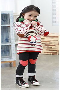 Toddler Girls Kids Clothes 2 PCS Set Top & Leggings Outfit S3-8Y Casual Clothing