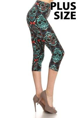 OMG! Plus Size Sugar Skulls Skeleton Stretchy and Soft Women's Capri Leggings](Skeleton Leggings Plus Size)