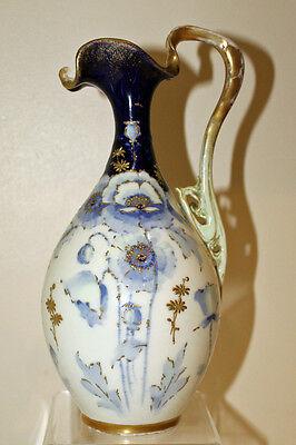 Antique Art Nouveau Porcelain Jug in Blue, White and Gold