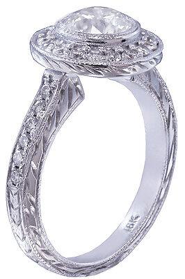 GIA I-SI1 18k White Gold Round Diamond Engagement Ring Bezel Set Art Deco 1.20ct 2